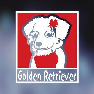 ちょい悪 ゴールデンレトリバー ステッカー 女の子、犬ステッカー(犬)