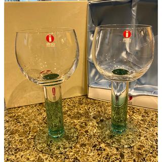 イッタラ(iittala)のイッタラ モンド ワイングラス 旧ラベル 箱付き モンドグリーン 希少(グラス/カップ)