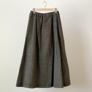 フォーティファイブアール(45R)の美品 45R 45rpm ギマツイード ボリューム スカート 2 ブラウン(ロングスカート)