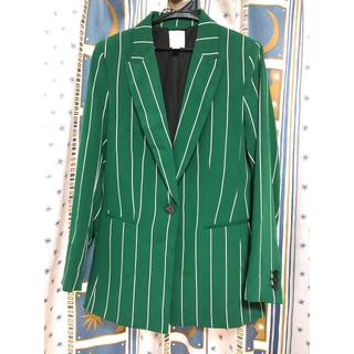 エイチアンドエム(H&M)のH&M ストライプジャケット グリーン 38サイズ(M相当)(テーラードジャケット)