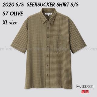 ジェイダブリューアンダーソン(J.W.ANDERSON)のUNIQLO JW ANDERSON シアサッカーシャツ(半袖)OLIVE XL(シャツ)