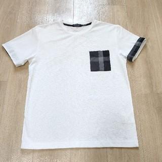 ブラックレーベルクレストブリッジ(BLACK LABEL CRESTBRIDGE)の美品!!白 半袖Tシャツ ワッフル素材 チェック柄胸ポケット M Burberr(Tシャツ/カットソー(半袖/袖なし))