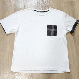 ブラックレーベルクレストブリッジ(BLACK LABEL CRESTBRIDGE)の美品!!L 白 チェック柄胸ポケット 半袖Tシャツ Black Label CR(Tシャツ/カットソー(半袖/袖なし))