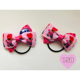ディズニー(Disney)のハート柄リボンキッズヘアゴム No.158(ファッション雑貨)