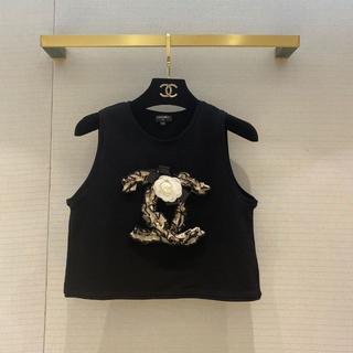 シャネル(CHANEL)のCHANEL CC ココ ロゴ フリル トップス ブラック(シャツ/ブラウス(半袖/袖なし))