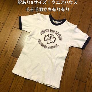 ウエアハウス(WAREHOUSE)の訳ありSサイズ!日本製 ウエアハウス 古着半袖リンガーTシャツ 毛玉毛羽立ち有り(Tシャツ/カットソー(半袖/袖なし))