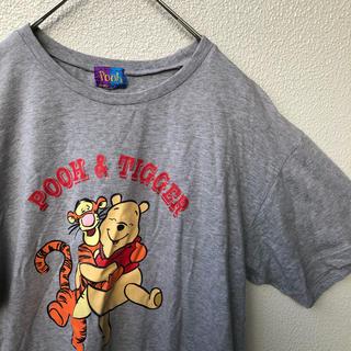 クマノプーサン(くまのプーさん)のプー&ティガー ハグ Tシャツ グレー М ディズニー Pooh 半袖 レトロ(Tシャツ/カットソー(半袖/袖なし))