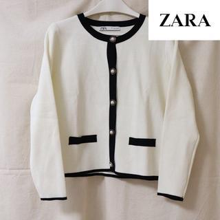 ザラ(ZARA)のZARA/ノーカラージャケット/ニット(カーディガン)
