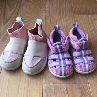 エイチアンドエム(H&M)のベビースニーカー&サンダル 13cm 美品 2足セット 女の子 ピンク(スニーカー)