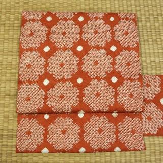渋めの柿色の絞り 名古屋帯(帯)