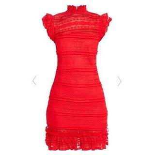 リプシー(Lipsy)の新品 赤ハイネック総レースタイトドレス(ミニドレス)