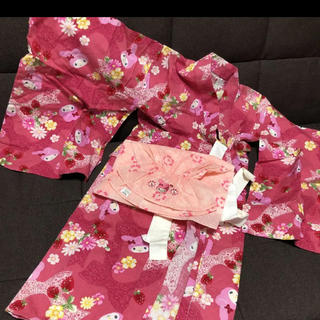 マイメロディ(マイメロディ)のマイメロ サンリオ 浴衣 濃いめの ピンク 花柄 100(甚平/浴衣)