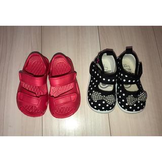 ニシマツヤ(西松屋)の13cm サンダル リボンの靴 未使用(サンダル)