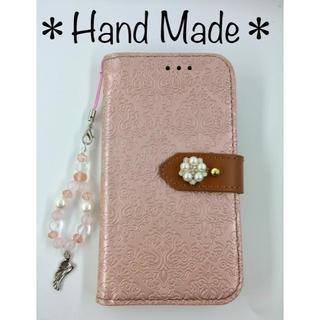 ハンドメイド✨iPhone 手帳型ケース✨パールビジューと天使の羽ストラップ(iPhoneケース)