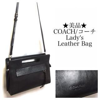 コーチ(COACH)の【美品】COACH/コーチ ショルダーバッグ レザー 黒系 ポーチ ポシェット(ショルダーバッグ)