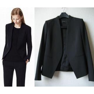セオリー(theory)のtheory 人気素材 ノーカラー ジャケット スーツ サイズ0(ノーカラージャケット)