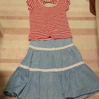 ジーユー(GU)の赤白ボーダーTシャツ(シャツ/ブラウス(半袖/袖なし))