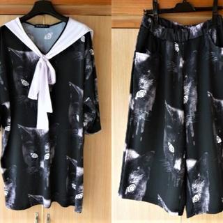 アンコロック(ankoROCK)のankorock アンコロック 黒猫セーラー セットアップ ハーフパンツ(Tシャツ(半袖/袖なし))