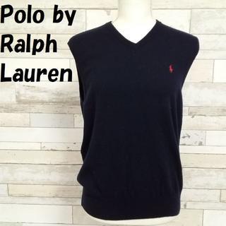 ポロラルフローレン(POLO RALPH LAUREN)のポロラルフローレン メリノウール100%ワンポイント刺繍ニットベスト 紺 M(ベスト/ジレ)