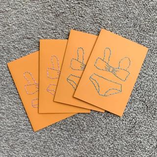 水着型メッセージカード4枚セット暑中見舞い*刺繍(カード/レター/ラッピング)