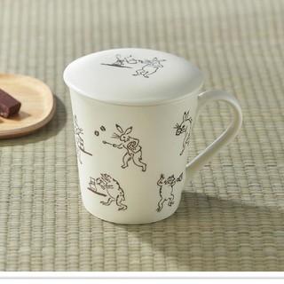 タリーズコーヒー(TULLY'S COFFEE)のタリーズ x かまわぬ ふたつきマグカップ260ml 鳥獣劇画(グラス/カップ)