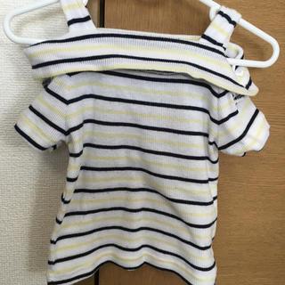 シマムラ(しまむら)のボーダーオフショルトップス100(Tシャツ/カットソー)