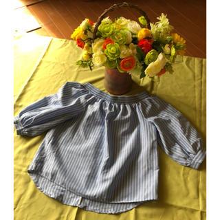 🍀ストライプ&後ろリボン 上品ブラウス美品❣️❣️(シャツ/ブラウス(半袖/袖なし))