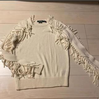 ラルフローレン(Ralph Lauren)のラルフローレン ホワイトフリンジニット(ニット/セーター)