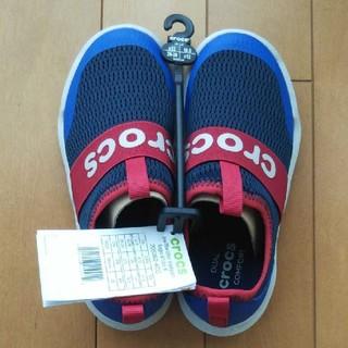 クロックス(crocs)のクロックス スニーカー 18.5 cm ストレッチ ブルー 新品 未使用(スニーカー)