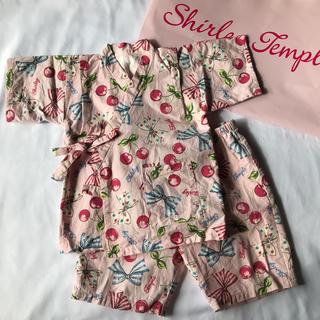 シャーリーテンプル(Shirley Temple)のシャーリーテンプル 110cm 甚平 チェリー柄 リボン柄(甚平/浴衣)