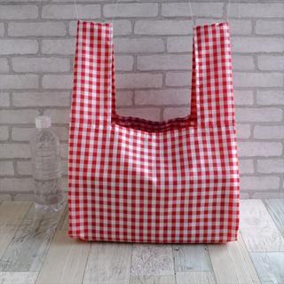 そのままの形で持ち帰りたいワイドサイズのレジ袋型エコバッグ・赤チェック(バッグ)