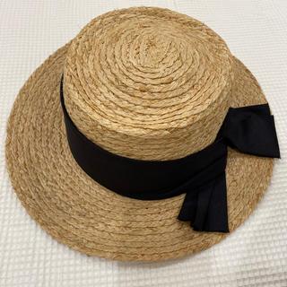 スタディオクリップ(STUDIO CLIP)のstudioclipラフィア黒リボンテープカンカン帽(麦わら帽子/ストローハット)
