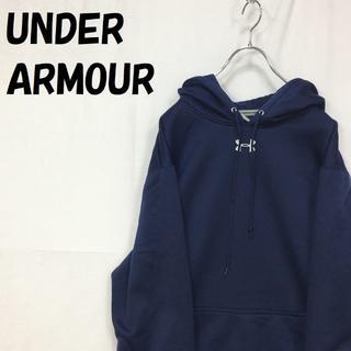 UNDER ARMOUR - 【人気】アンダーアーマー 刺繍ロゴ 裏起毛 パーカー ネイビー サイズXL