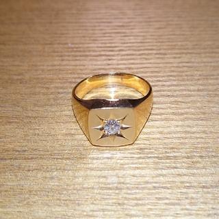 K18 印台 リング 18金 約14.5g ダイヤモンド 0.23ct 指輪(リング(指輪))