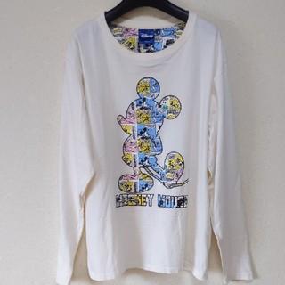 ディズニー(Disney)のDisney ミッキーマウス デカロゴ ロングシャツ(Tシャツ/カットソー(七分/長袖))