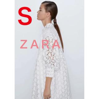 ザラ(ZARA)の新品 zara ザラ ストラクチャ入り生地ミニワンピース S(ミニワンピース)