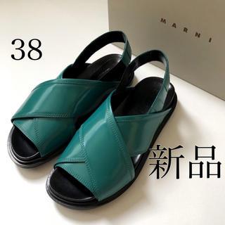 マルニ(Marni)の新品/38 MARNI マルニ フスベッド グリーン × ブラック サンダル(サンダル)