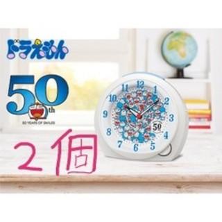 セイコー(SEIKO)の目覚まし時計 ドラえもん 50周年限定 白パール CQ803W 2個セット(キャラクターグッズ)