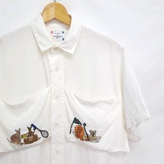 カステルバジャック(CASTELBAJAC)の★日本製 CASTELBAJAC 刺繍 リネン 半袖 シャツ(シャツ)