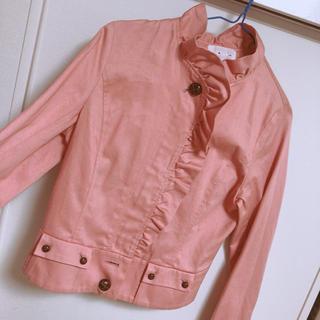 ロキエ(Lochie)のピンク フリルのジャケット♡(ノーカラージャケット)