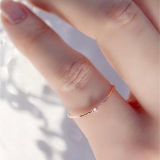 一粒ストーンワイヤーリング ピンキーリング(リング(指輪))