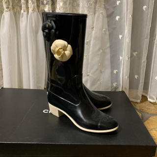 シャネル(CHANEL)のシャネル CHANEL カメリア レインブーツ 38(レインブーツ/長靴)