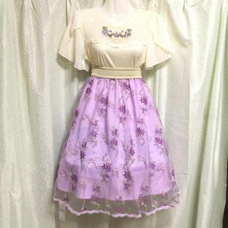 アクシーズファム(axes femme)の花刺繍チュールスカート(ひざ丈スカート)
