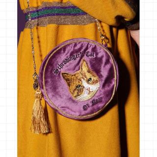 グリモワール(Grimoire)のUnlogicalPoem 猫 刺繍 ベロア ベルベット ポーチ バッグ(ポーチ)