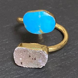ローズバッド(ROSE BUD)の K18GP 天然石 リング 指輪 ターコイズ&ドゥルージー E(リング(指輪))