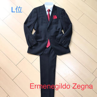 エルメネジルドゼニア(Ermenegildo Zegna)の極美品★エルメネジルドゼニア×ウール&絹ブラックシャドーストライプスーツA853(セットアップ)
