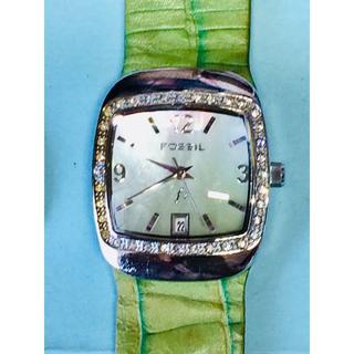 フォッシル(FOSSIL)のT27)個性的な♡ フォッシル・F2 電池交換済み シルバースクエアー(腕時計)