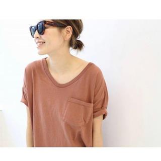 ドゥーズィエムクラス(DEUXIEME CLASSE)のSKARGORN ポケツキワイドTシャツ オレンジ 新品同様(Tシャツ(半袖/袖なし))
