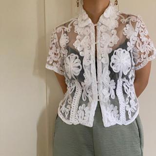 vintage  レースブラウス 白ブラウス 古着 シアーブラウス (シャツ/ブラウス(半袖/袖なし))