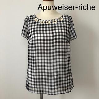 アプワイザーリッシェ(Apuweiser-riche)のアプワイザーリッシェ ギンガムチェック シフォントップス(Tシャツ(半袖/袖なし))
